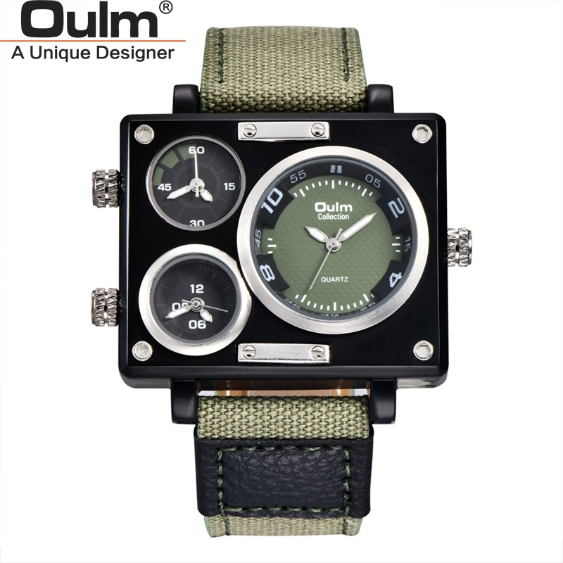 Oulm New Army Green Men's Watches Multiple Time Zone Wristwatch Canvas Strap Casual Outdoor Sport Male Quartz Watch