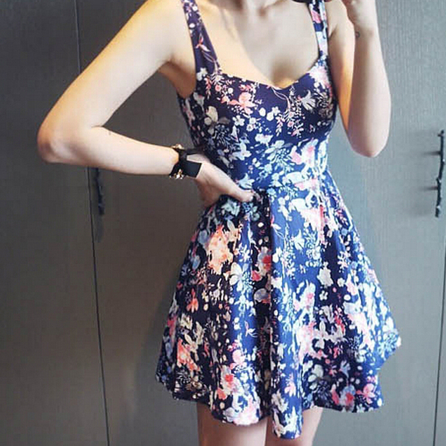 2015 Cute Women Summer Flower Print Dress Sleeveless Casual Ladies Slim Vintage Mini Pleated Floral Dresses Vestidos Femininos
