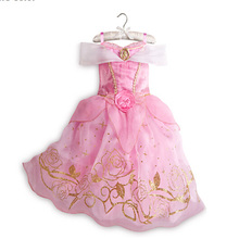 NEW 3-10 T Baby Clothing Cinderella Girls dress Lace Mesh Princess Dresses Dress Summer Baby Kids Clothes Costume Free shipping