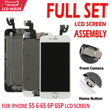 AAA tam Set meclisi lcd ekran iPhone 5S için 6 6S artı 6P 6SP dokunmatik ekran digitizer ile komple değiştirme ön kamera
