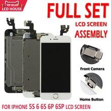 Conjunto completo de pantalla LCD AAA para iPhone 5S, 6, 6S Plus, 6P, 6SP, digitalizador de pantalla táctil, repuesto completo con cámara frontal