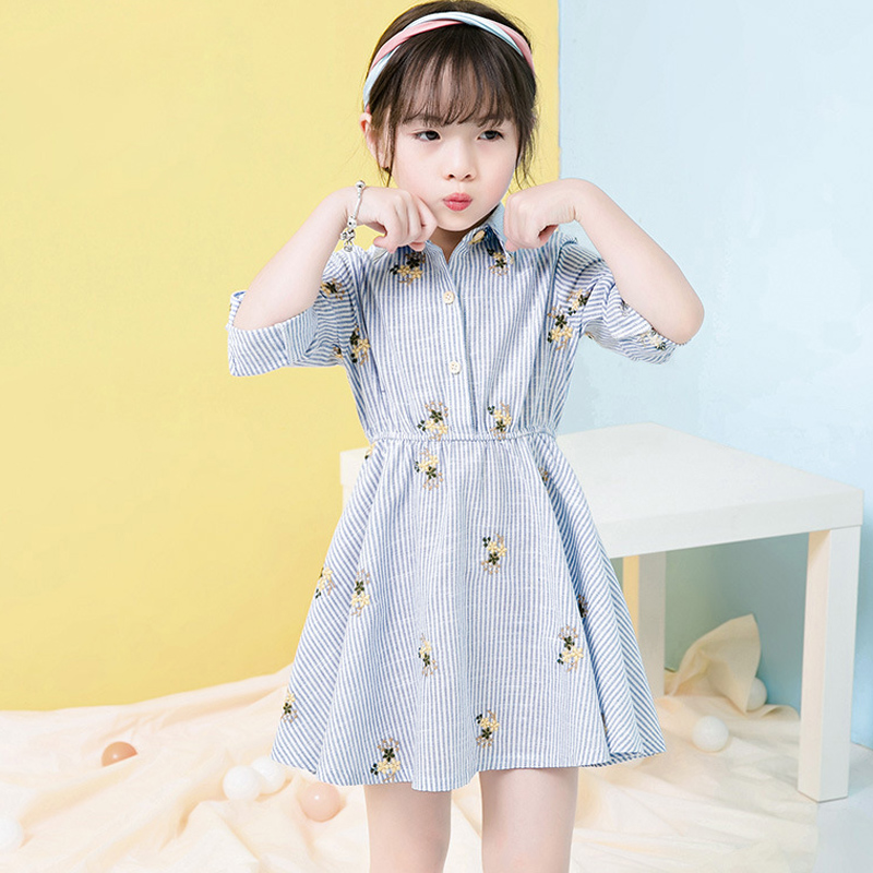 Girls Floral Embroidery Dress 2017 New Year Girls Clothes