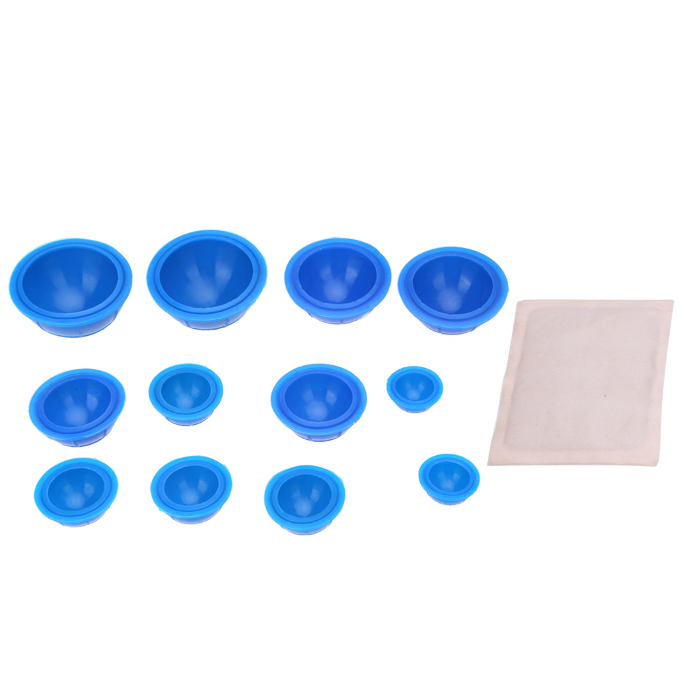 12Pcs Silicone Massage cupping therapy sets Chinese Massage Cupping Vacuum Therap Body Cups Cupping + 1 pc Moxa Paste