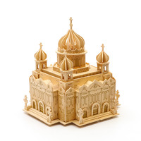 Strereo Mosaic Wood Puzzle 3D High difficulty Jigsaw Puzzle Wooden Building Handcrafted Model Wood DIY Crafts