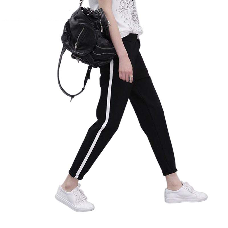 Size M-XXL Spring Sweatpants Women Casual Harem Pants Loose Trousers For Women Black Striped Side Sweat Pants Female Plus 2018