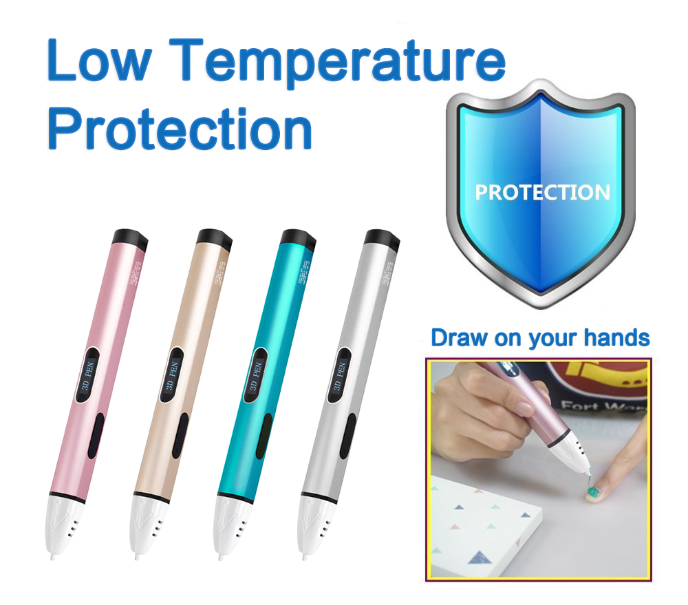 3D Printer Pen Dewang Newest X4 3D Printing Pen Free PCL Filament Low Temperature Protection 3D