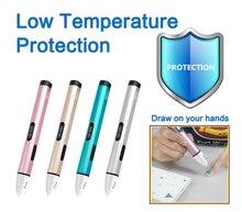 Dewang Новые X4 Интеллектуального 3D Печать Ручка с ЖК-Экраном, Низкая Температура USB 3D Ручка Металлический цвет Ультра-свет