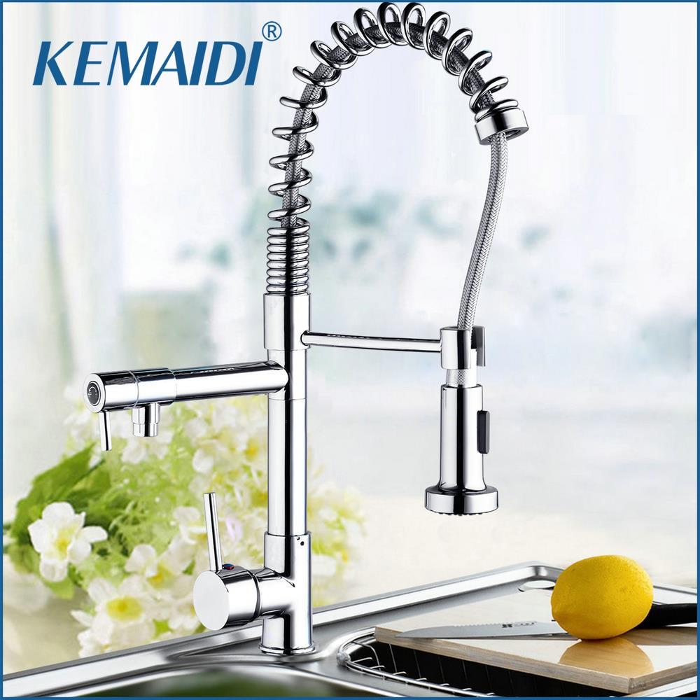 KEMAIDI  Mdoern Chrome Polish Pull Out Kitchen Faucet Torneira Deck Mount Dual Water Way Sprayer Kitchen Sink Mixer Tap