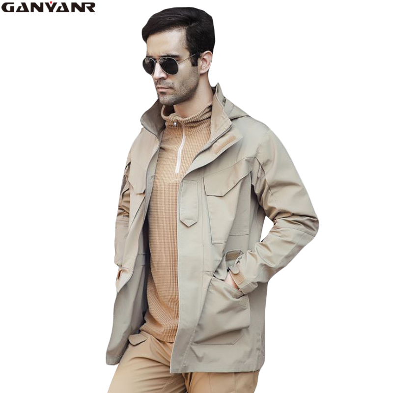 GANYANR Brand Softshell Jacket Men Hunting Clothes Hiking Clothing Ski Winter Waterproof Windstopper Rain Outdoor Sports Solid