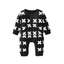 2017 New autumn cotton baby boy long sleeve X printed baby romper