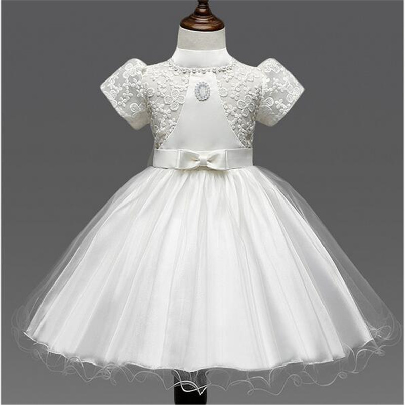 The new Korean style girls dress embroidered puff sleeve bowknot Flower Girl Dress for wedding