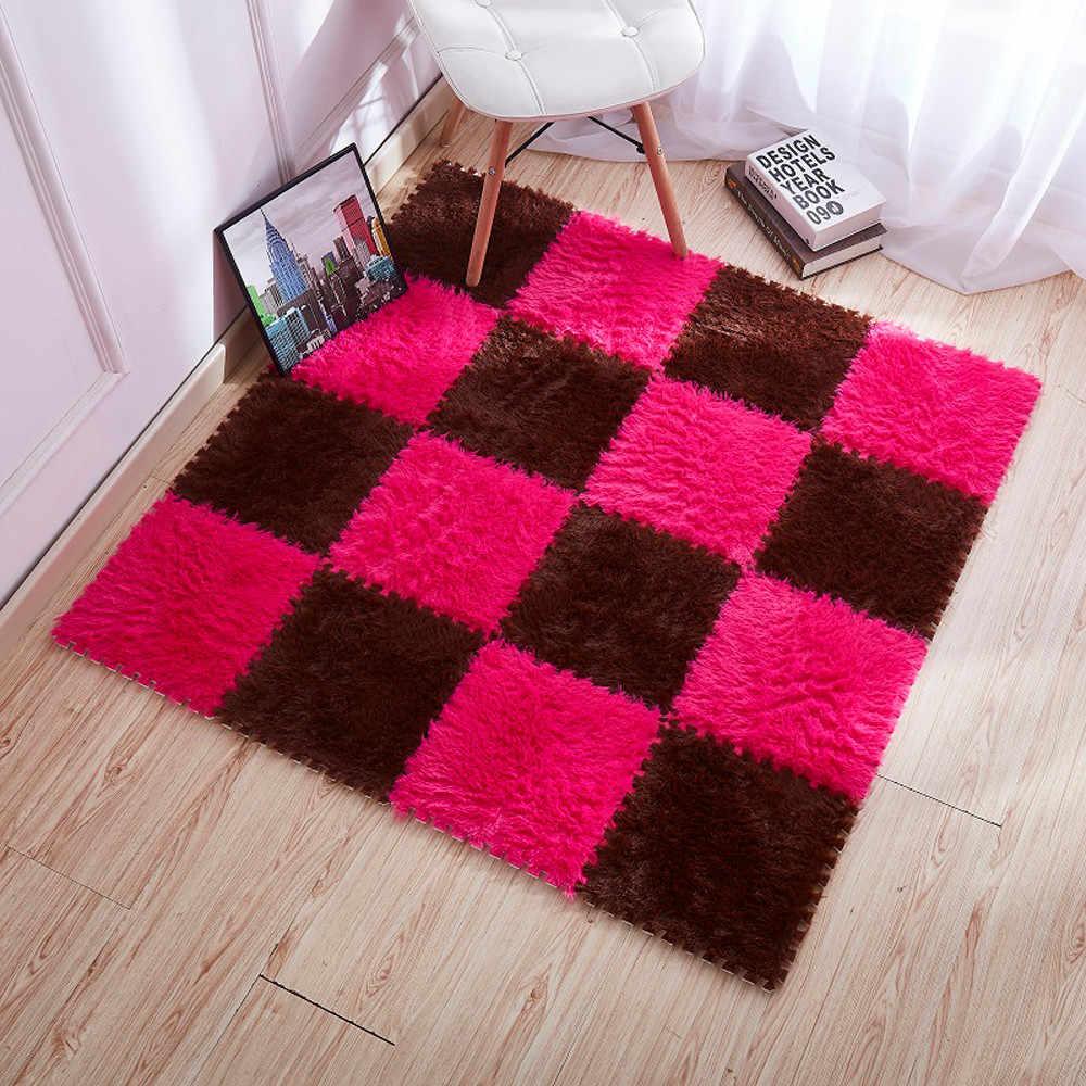 Tapis pour salon maison tapis de sol en peluche chaude tapis moelleux tapis de chambre d'enfants tapis soyeux tapis de Puzzle en mousse EVA plancher 30*30cm F719