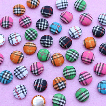 Set of 100pcs Scotticize Tartan Fabric Cover Buttons 15mm Handmade FlatBack Wrapped Round Buttons Assorted DIY