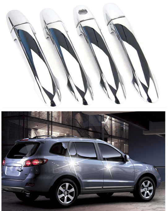 FUNDUOO New ABS Chrome Door Handle Cover trim For Hyundai Santa Fe 2007 2008 2009 2010 2011 2012 Free Drop Shipping