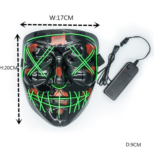 Led Mask Halloween Party Masque Masquerade Masks Neon Maske Light Glow In The Dark Mascara Horror Maska Glowing Masker Purge 4