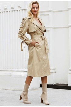 80s Look Stylish V-neck Trench Coat