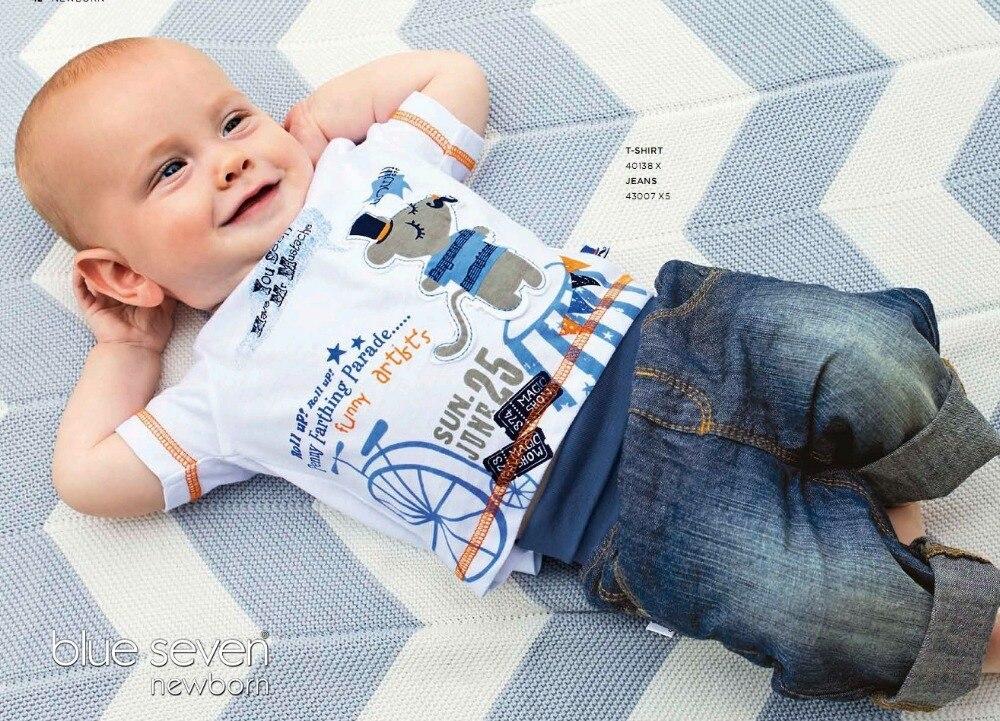 Niños de la manera ropa de verano establece impreso Camiseta + Jean pantalones r