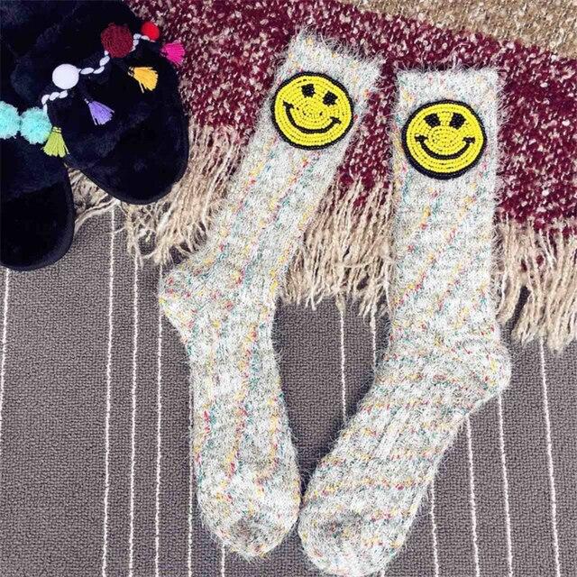 Handmade Japanese Street Fashion Thick Socks Women Girls High Socks Smiling Face Patches Warm Socks Sokken 2018 Spring Winter 4