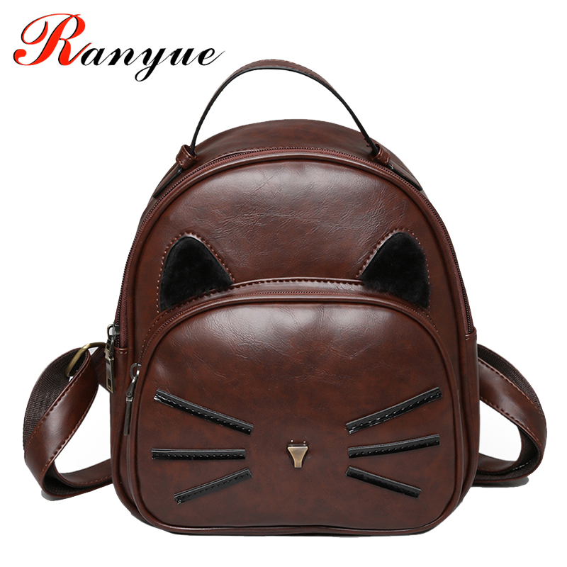 2017 New Fashion Cat Backpack Women High Quality PU Leather Backpacks For Teenage Girls School Bags Ladies Mochila De La Mujer fashion women backpack high quality pu leather mochila school bags teenager girls backpacks travel bags wb002