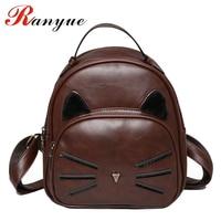 2017 New Fashion Cat Backpack Women High Quality PU Leather Backpacks For Teenage Girls School Bags