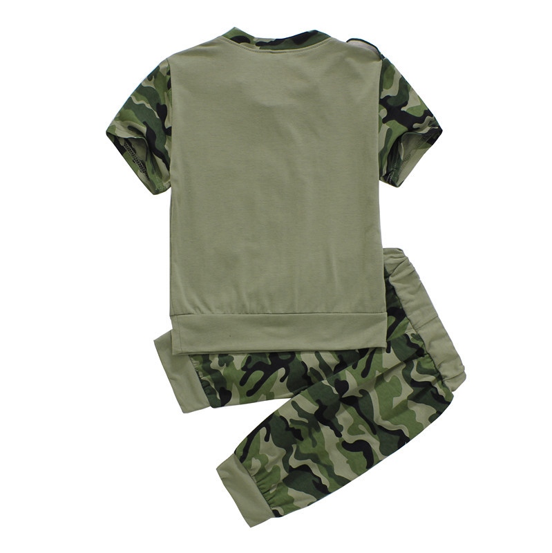 794a85faa Retail 2015 New Boys Camouflage short sleeve t shirt + pants set Children's  fashion army green wear kids summer clothing sets-in Clothing Sets from  Mother ...