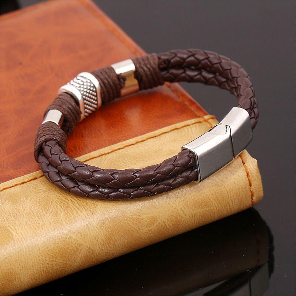 Retro fashion woven bracelet Men's Wristband Metal Studded Leather Bracelet