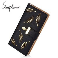Leaves Hollow Out Women Wallets Black Cover Coin Purse Women S Wallet PU Leather Brand Woman