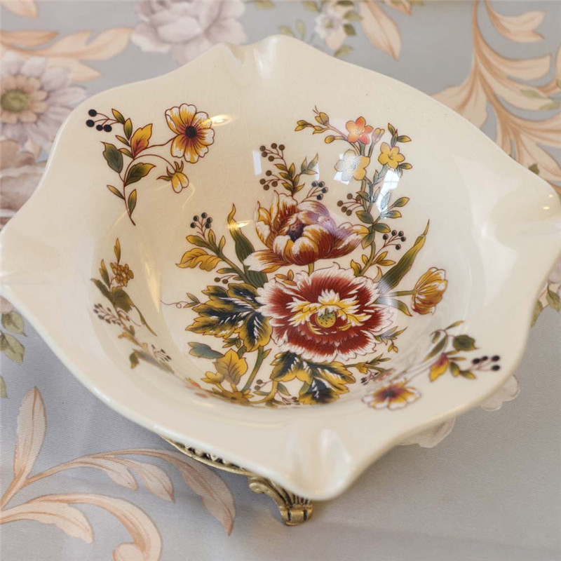 New Pattern! Palace Ceramic Crafts High-end Ice Crack Retro Pastel Peony pattern Creative Cigar Ashtray Ornaments