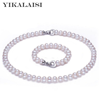 YIKALAISI 2017 New Natural Pearl Jewelry Set 8 9mm Pearl Necklace Bracelet 925 Sterling Silver Jewelry