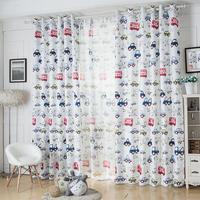 Free Shipping Custom Size Semi Light Shading Lovely Car Pattern Decorative Curtain Of For Kids Bed
