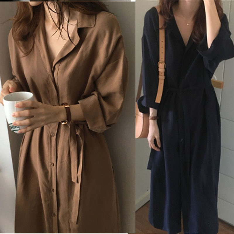 Long Sleeve Shirt Dress 2018 Spring Casual England Style DressesTurn Down Collar Buttons Mini Dresses Loose Trench Coat Autumn ロング ワンピース 前 開き