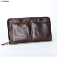 Maillusion Genius Leather Clutch Wallets Men New Vintage High Capacity Cowhide Purse Long Designer Zipper Male