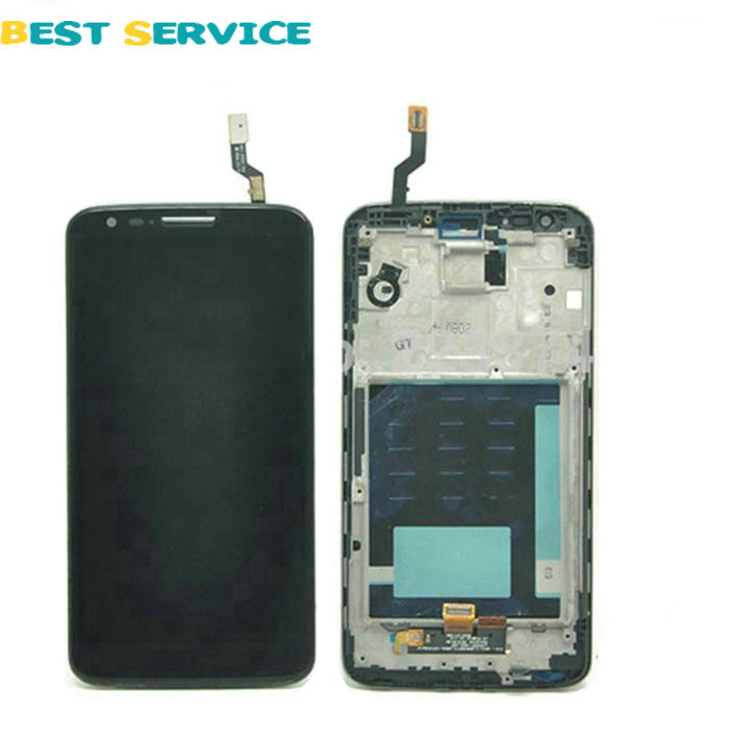 5Pcs/Lots For LG Optimus G2 D802 LCD Display + Touch Screen Digitizer Glass Assembly With Frame Black White Colors Free Shipping 10pcs lots for lg d820 d821 lcd screen display touch screen digitizer with frame assembly black free shipping