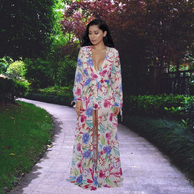 929d6ae4705 S-XXL women long sleeve maxi dress 2016 summer floral short romper dress  women boho