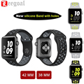 4 Color Flexible Breathable Silicone Sport Watch Band For Apple Watch Series 1&2 Rubber Wrist Strap Watchband For iWatch 38/42MM