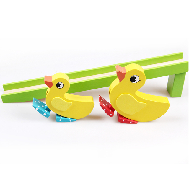 Wooden toys Two ducks slide toys Montessori education benefits Gifts for children Size:20cm*5cm*36cm Train children's ability