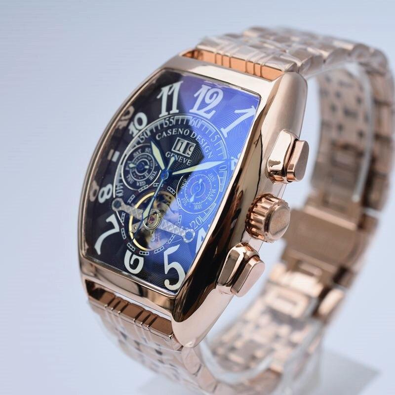 CASENO Top Merk Luxe Tourbillon Skeleton Automatische Mechanische Horloges Mens Polshorloge Militaire rvs Mannelijke Klokken-in Mechanische Horloges van Horloges op  Groep 3