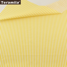 Home Textile Material Bed Sheet  Patchwork Quilting Tecido 100% Cotton Fabric  Light Yellow Strips Designs Twill Fat Quarter