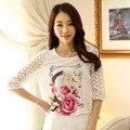 Flor impresso Lady Chiffon blusa S-3XL verão Patchwork de mulheres
