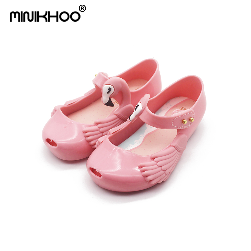Mini Melissa Flamingos Girls Jelly Sandals 2018 Summer Princess Shoes Non-slip Melissa Wings Baby Beach Sandals High Quality