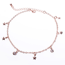 Rose color titanium anklets day gift fashion multi-layer bangle female gift