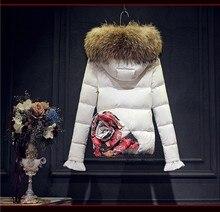 Real Fur hooded 2016 Winter Jacket women down jackets Women's down coat thickening Flower Duck downs parka outerwear