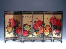 China  Gorgeous lacquer Folding Screen- Good Luck Blossom