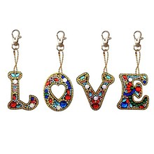 4 Set Diy Letters Diamond Painting Keychain Kits Full Drill Diamond Embroidery Girl Bag Jewelry Handmade Gift(China)