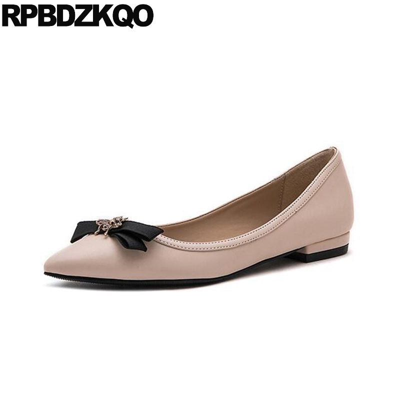 Flats Ladies Slip On Pointed Toe Designer Famous Brand Shoes Bee Metal Women Bow Suede Black Celebrity Latest 2017 Nude Spring цена 2017