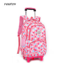 Kids boys girls Trolley Schoolbag Luggage Book Bags Backpack Latest Removable Children School With 2 Wheels Stairs