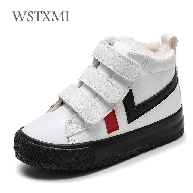 7e2152a76 New Winter Children Shoes For Boys Snow Boots Flat Waterproof Shoes Plus  Warm Girls Ankle Leather