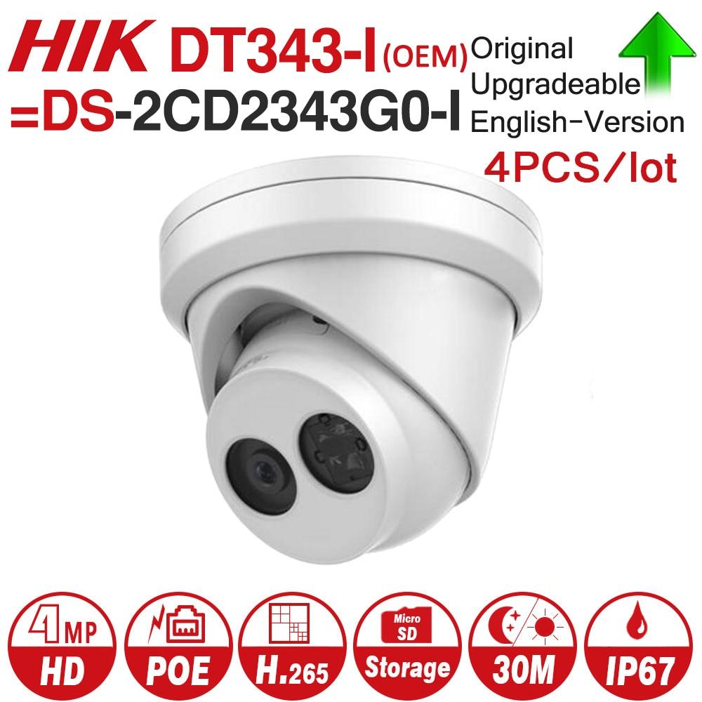 Hikvision OEM IP Camera DT343-I = DS-2CD2343G0-I 4MP Network CCTV Camera H.265 CCTV Security POE WDR SD Card Slot 4pcs/lot