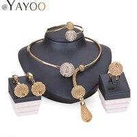 Mode Charme Farbe Gold Schmuck Sets Für Frauen Afrikanische Pandent Halskette Lange Ohrringe Armband Ringe Party Kleid Zubehör