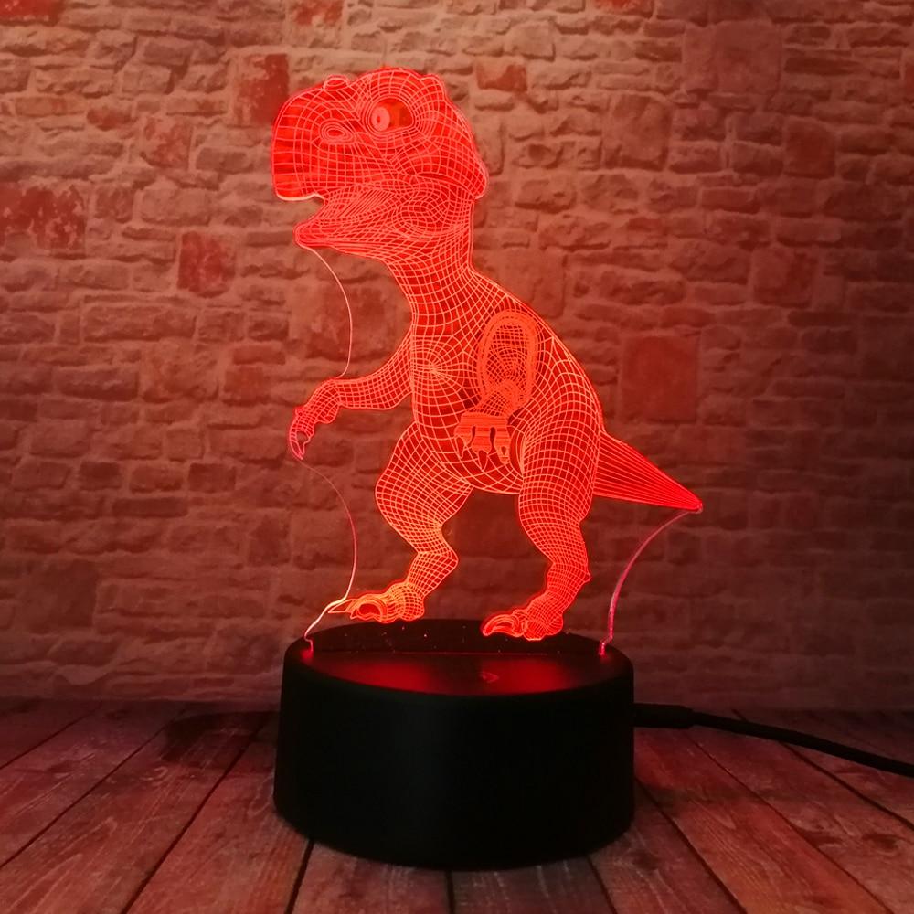 Yeni Unikal Tirannosaurus Rex Dinosaur Dragon 3D 7 Rəng - Gecə işığı - Fotoqrafiya 5